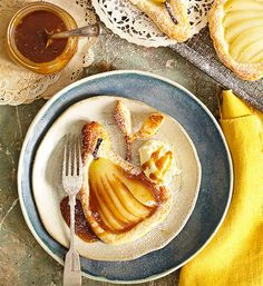 Pear tartlets with salted-caramel sauce: This is no place to pear down on flavour! Buttery fruit lies on a bed of perfectly-puffed pastry, all drizzled with a salty-sweet sauce. Yum!