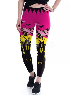 1f9ada886833b Women Halloween Leggings 3D Print Rose Elastic Waist Skinny Leggings # Leggings, #Print, #Women