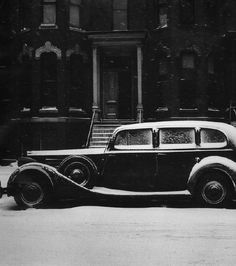 "Yasuhiro Ishimoto  Chicago (car in snow)  1950 | Gelatin silver print | 9.5 x 9.5 in.    Gelatin silver photograph. Later print.  Signed in pencil by artist and embossed on print recto.   Annotated ""6-97"" in pencil on print verso."