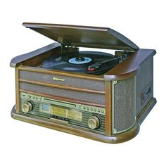 Roadstar Wood Retro Style FM-Radio with Turntable, Cassette, CD Player and Direct Encoding