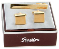 Stratton cufflinks and tie pin, £30, Chocolate Frog Company (Oakhanger)