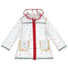 A lovely raincoat for girls by Sonia Rykiel Paris, made from soft clear PVC with a brightly coloured, signature hearts and lips pattern. This fun raincoat has two small pockets on the front and a large roomy hood, ideal for those rainy days. Blue Raincoat, Dog Raincoat, Hooded Raincoat, Paris Girl, Raincoats For Women, Dubai Fashion, Snow Suit, Sonia Rykiel, Japanese Fashion