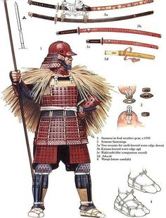 Samurai in foul weather gear Angus McBride Samurai Weapons, Samurai Armor, Arm Armor, Samurai Helmet, Armadura Medieval, Japanese Warrior, Japanese Sword, Japanese History, Japanese Culture