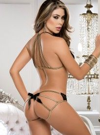 914e39af10c81 Stretch Lace Lingerie Top   Strappy Panty Set with Gold Trim - Standard  Sizes Lace Bra