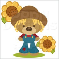 Scarecrow Bear with Sunflower  (40% off for Members)