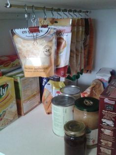 Creative way to store and organize food in pantry or cabinet
