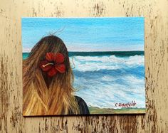 Woman at the beach Beach painting Ocean painting Affordable art Free shipping US Seascape Paintings, Your Paintings, Watercolor Paintings, Original Paintings, Watercolor Cards, Watercolor Flowers, Unique Cards, Affordable Art, House Painting