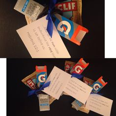 Great & easy gift idea for runners, track or cross country. ...and let us run with endurance the race that is set before us. Hebrews 12:1 (Includes Clif Bar, Gatorade Energy Chews, 5 ponytails/hair-ties, and ribbon with note)