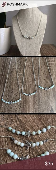 ⭐️SALE⭐️ Amazonite Starfish Necklace **Top picture is Necklace available** 🌵 These necklaces are one of a kind and handmade in El Paso, TX. Nobody else will have this necklace! 🌵 Necklace is silver plated. Please see my other two listings if interested in other necklaces. Simple Sanctuary Jewelry Necklaces