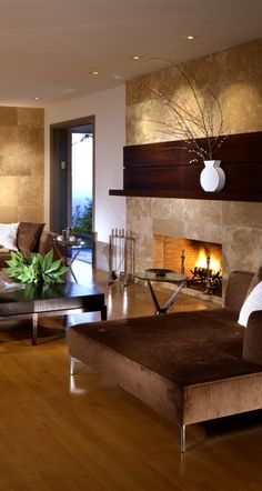 Living Room - Modern Interior with gorgeous finishes and textures....love the fireplace mantel.
