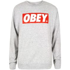 Obey The Box Heather Crew Sweat ($98) ❤ liked on Polyvore