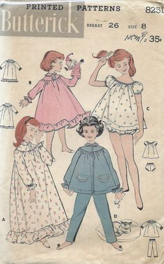 Uncut, Child Size 8, Vintage 1950s or 40s Sewing Pattern, Butterick 8251, Little Girl, Pajamas, Nightgown, Top, Pants, Panties, Children