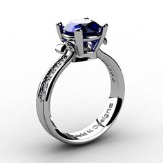 Classic Modern 14K White Gold 2.0 Ct Blue Sapphire Daimond