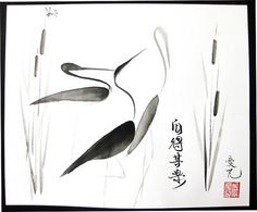 Chinese painting  Sumi-e Cranes   Original Ink by FlowWithTheBrush