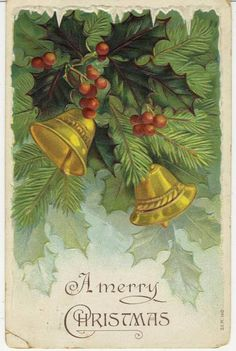 Magpie's Nest 1908 and a Happy New Year Emma Christmas Card Pictures, Vintage Christmas Images, Antique Christmas, Retro Christmas, Christmas Bells, Vintage Holiday, Christmas Music, Xmas, Vintage Greeting Cards