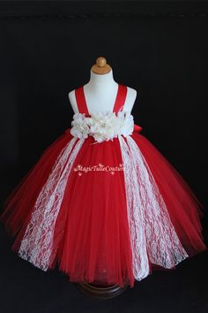 Ivory and red lace flower girl tutu dress by MagicTulleCouture