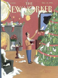 """The New Yorker - Monday, December 21, 1998 - Issue # 3825 - Vol. 74 - N° 39 - Cover """"Christmas Decorations"""" by Benoît van Innis"""