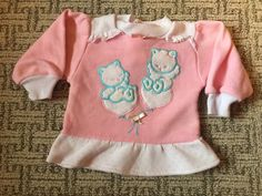 Vintage 1980s Baby Girls Pink White Kitty Cat Appliqué Cute Cozy Top Shirt 3-6 M #Casual