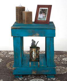 Look at this #zulilyfind! Turquoise Distressed End Table #zulilyfinds