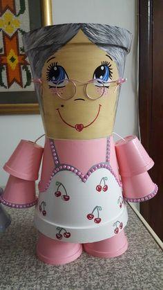 Pink grey flower pot happy grandma