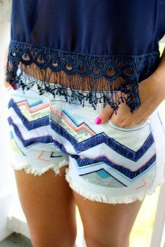 Take Me With You Shorts: Chevron Denim