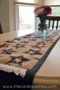 fourth of july burlap table runner