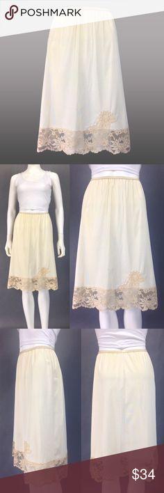 VINTAGE LINGERIE 50s Slip LACE HEM Beige Half Slip Coming soon Vintage Intimates & Sleepwear Chemises & Slips