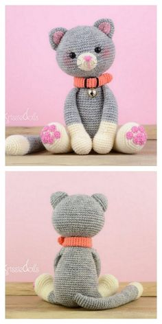 All free amigurumi crochet patterns and tutorials. Gato Crochet, Crochet Cat Toys, Crochet Cat Pattern, Knitted Cat, Plush Pattern, Crochet Animals, Crochet Crafts, Crochet Projects, Crochet Baby