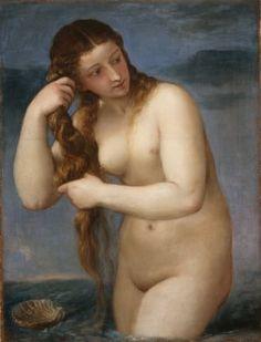 "Titian (Tiziano Vecellio), Venus rising from the sea, ""Venus Anadyomene"", about 1520, oil on canvas. Scottish National Gallery."