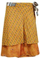 Women's Wrap Skirt Yellow Floral Printed Two Layer Reversible Silk Sari Short Skirts