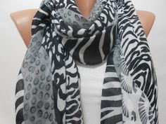 Black White Zebra Pattern Scarf Shawl Women Cowl by ScarfClub