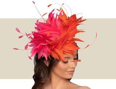 Hot Pink and Orange Women's Fancy, Feather Fascinator Hat Vintage Fashion 1950s, Victorian Fashion, Vintage Hats, Fascinator Hats, Fascinators, Mad Hatter Hats, Christian Dior Couture, Cocktail Hat, Fancy Hats