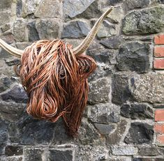 Life Size Willow Highland Trophy Head Animal Sculptures, Wall Sculptures, Lion Sculpture, Twig Art, Traditional Baskets, Weaving Techniques, Cattle, Fairies, House Ideas