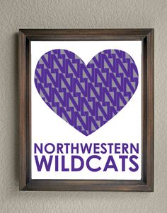 This colorful Northwestern University Wildcats Heart print is an original pattern, designed with the Northwestern University Wildcats colors and symbols in mind. This print come in a variety of sizes (please see drop down menu on the right).  This print can come with or without the words, Northwestern Wildcats (please see drop down menu on the right).  This unique Northwestern University Wildcats Heart print looks great by itself, or on a gallery wall with other prints. It would be a…