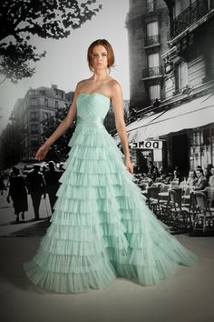 Ruffled #Mint Gown by Reem Acra
