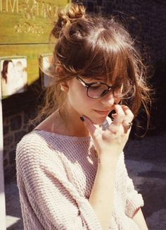 A messy up do and fringe puts all attention on your sassy specs. For more ideas click on the picture or visit www.sofeminine.co.uk
