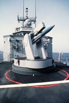 A SM-2 missile in the Mark 13 launcher on the USS Nicholas FFG-47.