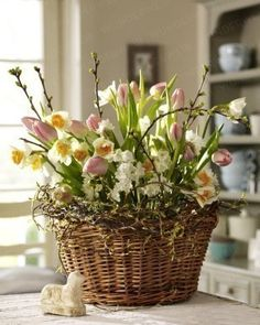 Easter is just around the corner...so it's time to make table decor decisions. Image via Wunderweib.de  Bought some fun new plates from Anthropologie last Spring and added moss bunnies for a fun tablescape... I planted mint in pretty flea market cups and saucers for party favors for the girls...Godi