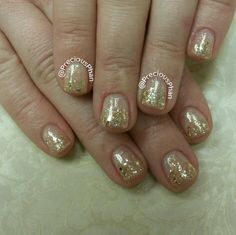Gold loose ombre nails. Negative space nails. New year nails #PreciousPhanNails