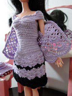 vestido, chapeu, bolsa e bolero de crochê para Barbie Pecunia MM