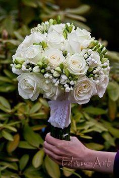 Wedding Bouquet Arranged With: White Roses, White Freesia + White Bouvardia