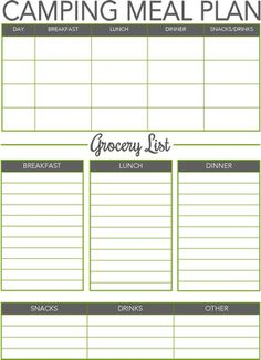 1000 ideas about camping meal planner on pinterest for Camping menu planner template