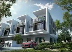 New Terrace/Link House for sale at Mansion Park in Cyberjaya, Selangor from RM by Tindak Murni Sdn Bhd. Villa Design, Row House Design, Duplex House Design, Home Building Design, Modern House Design, Building A House, Design Art, Facade Architecture, Residential Architecture