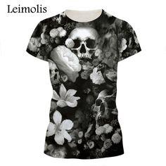 a010a912f 2017 Cool Style Skull T Shirt Beautiful Flower Printed O-neck Short Sleeve T -shirt Men Women Top Tees For Men Summer Tops