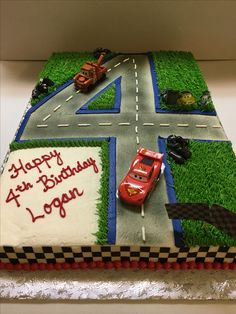 Cars themed full sheet cake