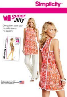 Simplicity 7836 Simplicity 7836 Patrons d'ensemble de robe ou tunique et pantalon Vintage, tailles 34 à 46