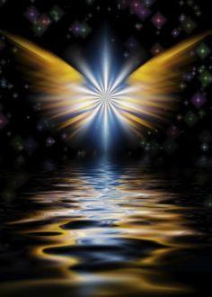 Shining angel wings over water surface Wings Wallpaper, Angel Wallpaper, Angel Images, Angel Pictures, Beautiful Angels Pictures, Cross Pictures, Spiritual Paintings, Angel Wings Wall, I Believe In Angels