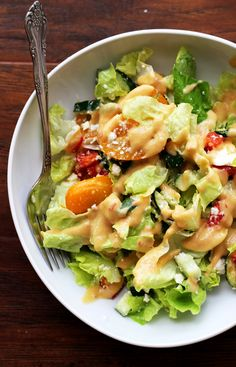 Greek Salad with Hummus Dressing - Joanne Eats Well With Others