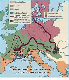 Because of the Cimbri and Teutons' invasion of the Roman Empire, which the Romans narrowly rejected, Roman writers mentioned the Germanic tribes for the first time. Roman Empire Map, Art Connection, Geography Map, Germanic Tribes, Celtic Culture, Cross Art, Iron Age, Historical Maps, History Museum