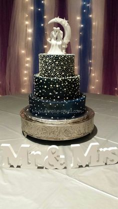 """Under the stars/space wedding cake with hand piped """"stars""""   Www.facebook.com/simplycakes.brittneyshiley  Www.simply-cakes.com"""